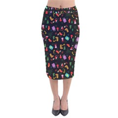 Christmas Pattern Velvet Midi Pencil Skirt