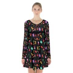 Christmas Pattern Long Sleeve Velvet V Neck Dress