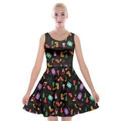 Christmas Pattern Velvet Skater Dress