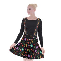 Christmas Pattern Suspender Skater Skirt