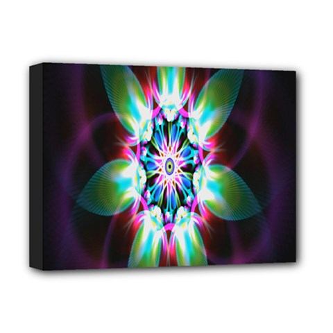 Colorful Fractal Flower Star Green Purple Deluxe Canvas 16  X 12