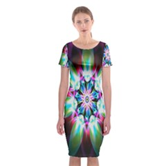 Colorful Fractal Flower Star Green Purple Classic Short Sleeve Midi Dress
