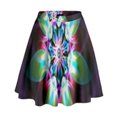 Colorful Fractal Flower Star Green Purple High Waist Skirt
