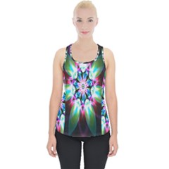 Colorful Fractal Flower Star Green Purple Piece Up Tank Top