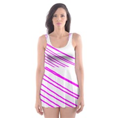 Electricty Power Pole Blue Pink Skater Dress Swimsuit
