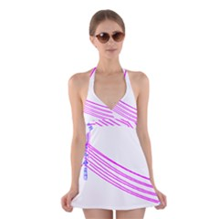 Electricty Power Pole Blue Pink Halter Swimsuit Dress
