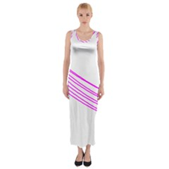 Electricty Power Pole Blue Pink Fitted Maxi Dress