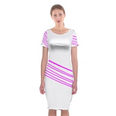 Electricty Power Pole Blue Pink Classic Short Sleeve Midi Dress