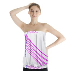 Electricty Power Pole Blue Pink Strapless Top