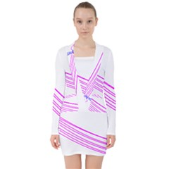 Electricty Power Pole Blue Pink V Neck Bodycon Long Sleeve Dress