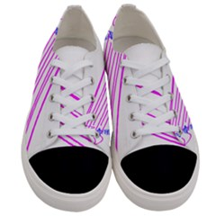 Electricty Power Pole Blue Pink Women s Low Top Canvas Sneakers