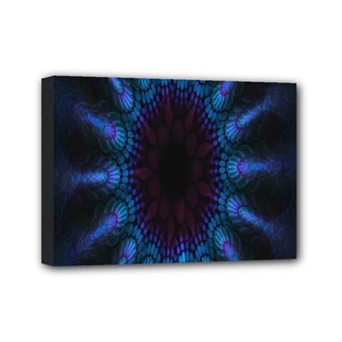 Exploding Flower Tunnel Nature Amazing Beauty Animation Blue Purple Mini Canvas 7  X 5