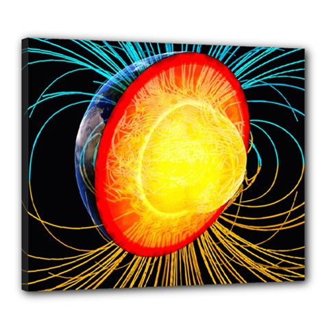Cross Section Earth Field Lines Geomagnetic Hot Canvas 24  X 20