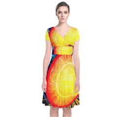 Cross Section Earth Field Lines Geomagnetic Hot Short Sleeve Front Wrap Dress