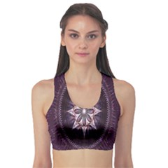 Flower Twirl Star Space Purple Sports Bra