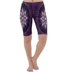 Flower Twirl Star Space Purple Cropped Leggings