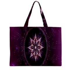 Flower Twirl Star Space Purple Zipper Mini Tote Bag