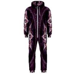 Flower Twirl Star Space Purple Hooded Jumpsuit (men)