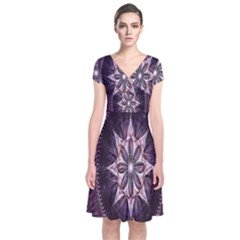 Flower Twirl Star Space Purple Short Sleeve Front Wrap Dress