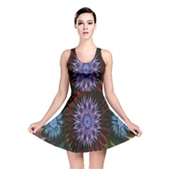 Flower Stigma Colorful Rainbow Animation Gold Space Reversible Skater Dress