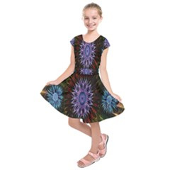 Flower Stigma Colorful Rainbow Animation Gold Space Kids  Short Sleeve Dress
