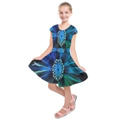 Flower Stigma Colorful Rainbow Animation Space Kids  Short Sleeve Dress