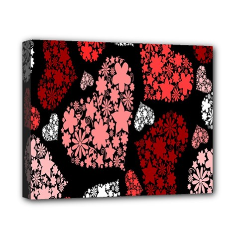 Floral Flower Heart Valentine Canvas 10  X 8