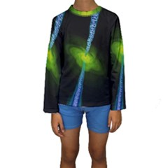 Gas Yellow Falling Into Black Hole Kids  Long Sleeve Swimwear