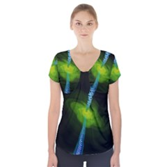 Gas Yellow Falling Into Black Hole Short Sleeve Front Detail Top