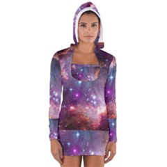 Galaxy Space Star Light Purple Long Sleeve Hooded T Shirt
