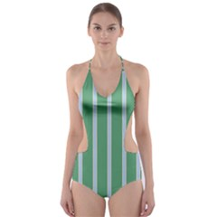 Green Line Vertical Cut Out One Piece Swimsuit