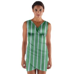 Green Line Vertical Wrap Front Bodycon Dress