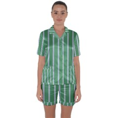 Green Line Vertical Satin Short Sleeve Pyjamas Set
