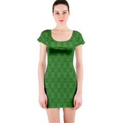 Green Seed Polka Short Sleeve Bodycon Dress