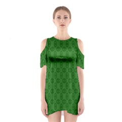 Green Seed Polka Shoulder Cutout One Piece