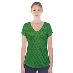 Green Seed Polka Short Sleeve Front Detail Top