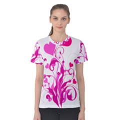 Heart Flourish Pink Valentine Women s Cotton Tee