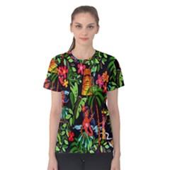 Hawaiian Girls Black Flower Floral Summer Women s Cotton Tee