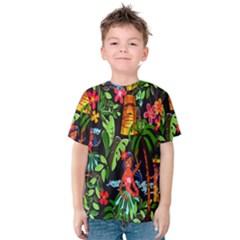 Hawaiian Girls Black Flower Floral Summer Kids  Cotton Tee