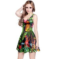 Hawaiian Girls Black Flower Floral Summer Reversible Sleeveless Dress