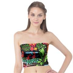 Hawaiian Girls Black Flower Floral Summer Tube Top