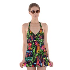 Hawaiian Girls Black Flower Floral Summer Halter Swimsuit Dress