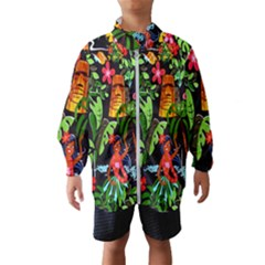 Hawaiian Girls Black Flower Floral Summer Wind Breaker (kids)