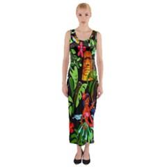 Hawaiian Girls Black Flower Floral Summer Fitted Maxi Dress