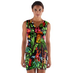 Hawaiian Girls Black Flower Floral Summer Wrap Front Bodycon Dress