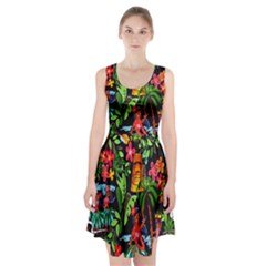 Hawaiian Girls Black Flower Floral Summer Racerback Midi Dress