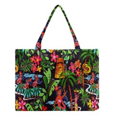 Hawaiian Girls Black Flower Floral Summer Medium Tote Bag