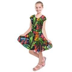 Hawaiian Girls Black Flower Floral Summer Kids  Short Sleeve Dress