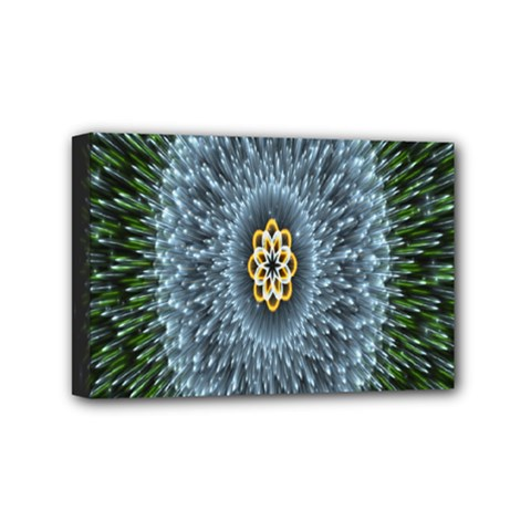 Hipnotic Star Space White Green Mini Canvas 6  X 4