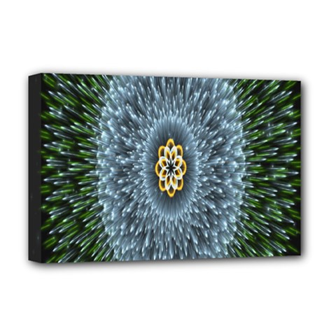 Hipnotic Star Space White Green Deluxe Canvas 18  X 12